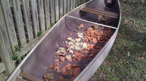 canoe with pottery shards: time to garden
